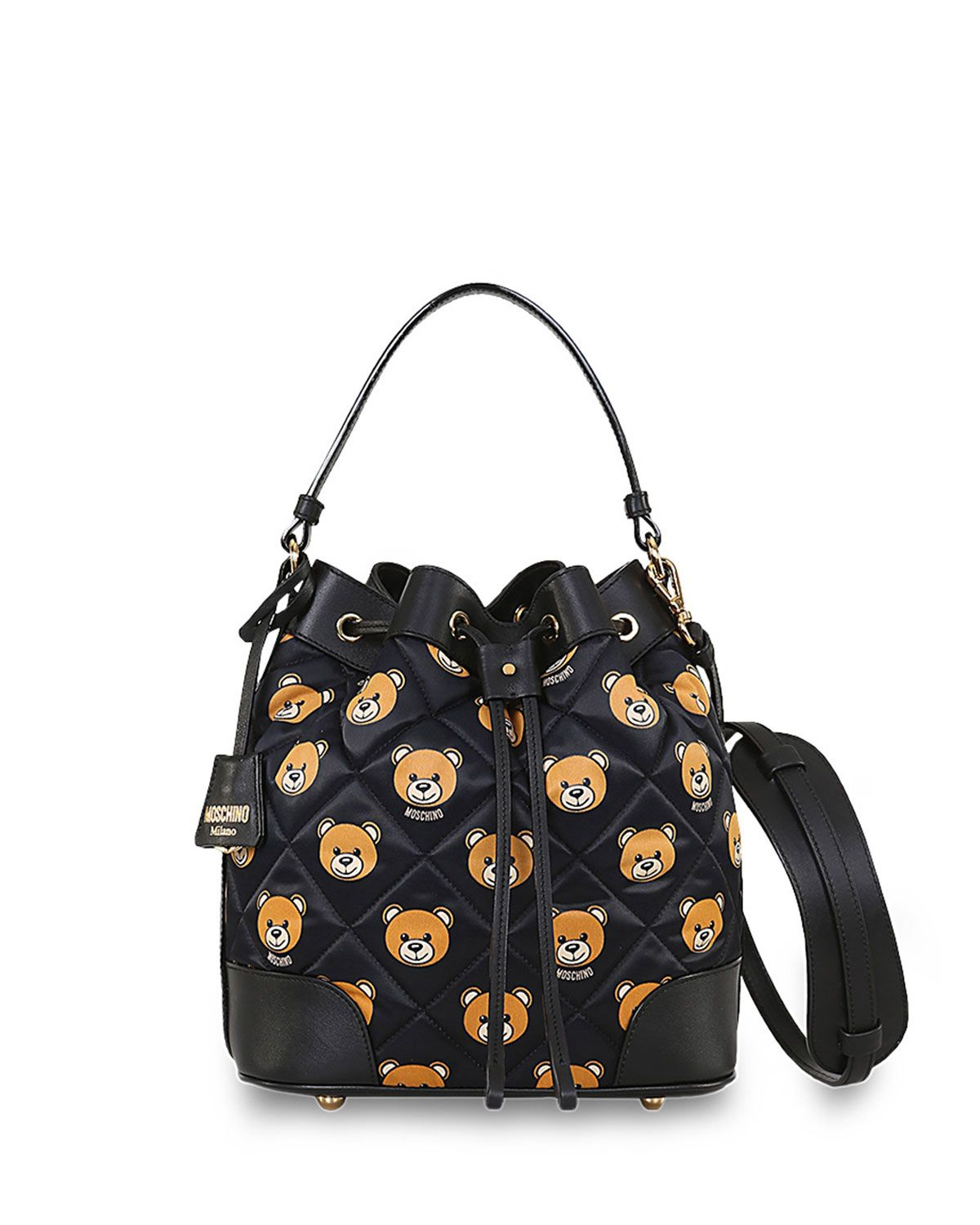 Leather quilted handbags and purses - Moschino Quilted Small Teddy Bear Print Bucket Bag