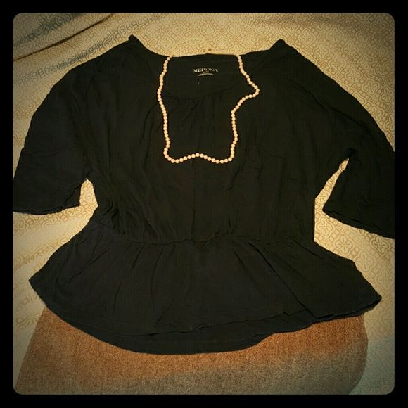 Cute Navy T-shirt Classy navy peplum shirt.   Soft and comfy.  High waisted. Bat-wing style sleeves.  Slightly gathered on shoulders as seen in pic above.   No holes. Merona Tops Tees - Long Sleeve