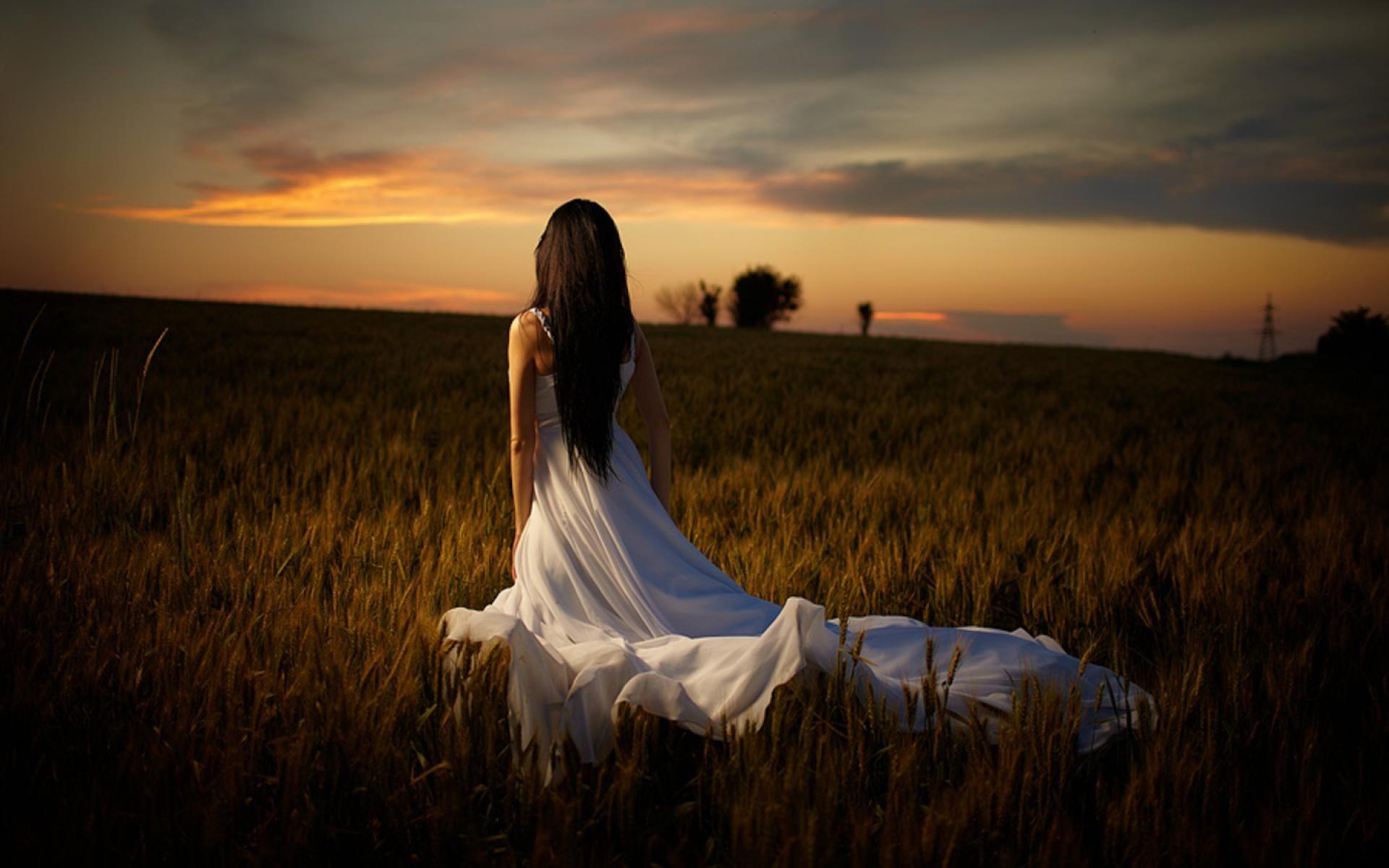 Girl, White Dress, Field   Photo, White dresses for women, Pictures
