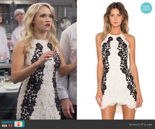 5fb05c678bf8 Gabi s black and white lace dress on Young and Hungry