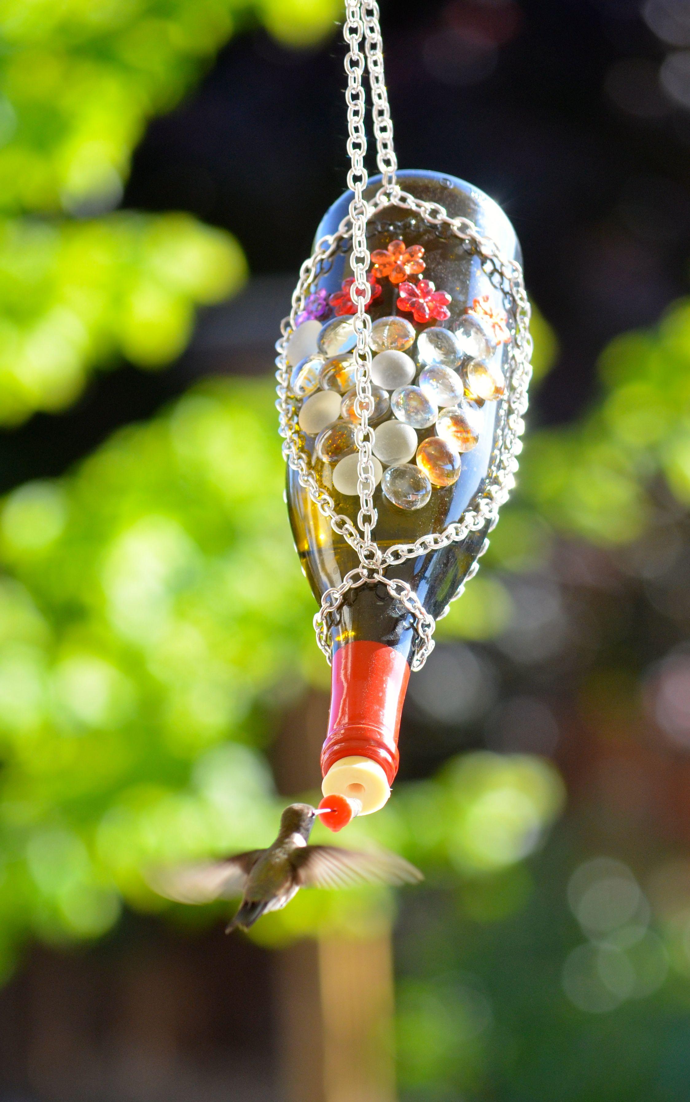 Wine Bottle Hummingbird Feeder » | Diy bird feeder, Humming bird feeders, Bird feeders