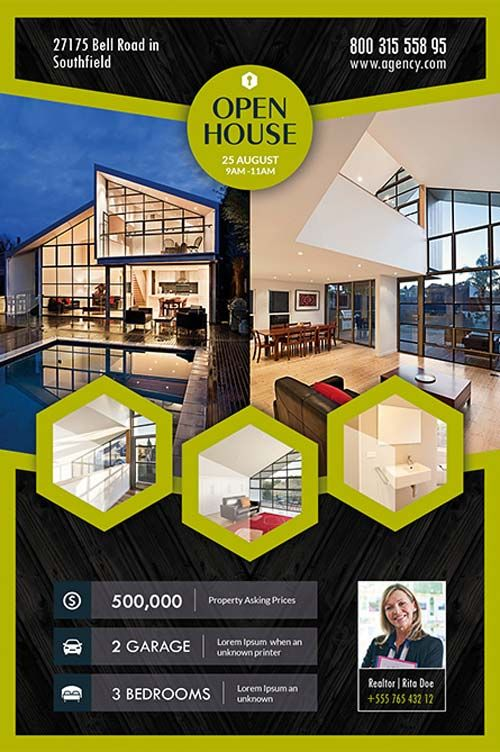 Open House Real Estate Free Flyer Template -    freepsdflyer - advertising brochure template