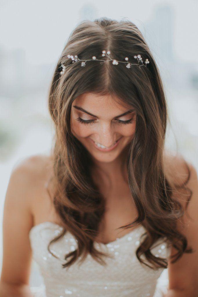 boho haarband mit perlen und schmuckkristallen in gold
