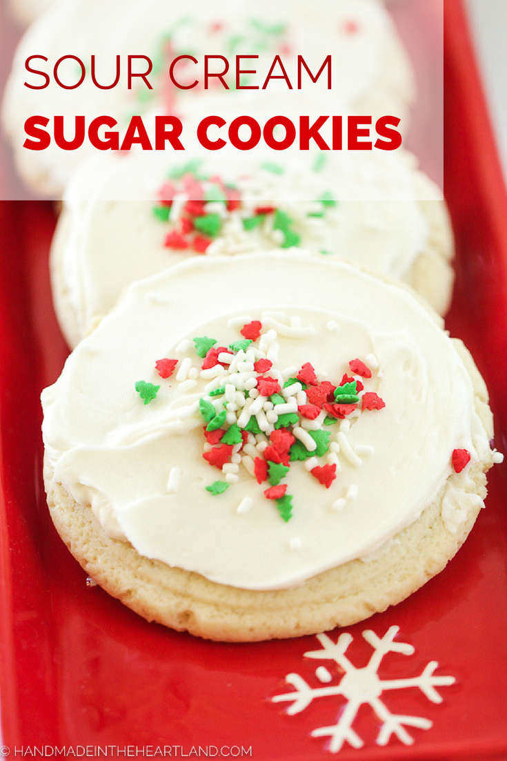 Frosted Sour Cream Sugar Cookies Handmade In The Heartland Recipe Sour Cream Sugar Cookies Christmas Food Desserts Sugar Cookies Recipe
