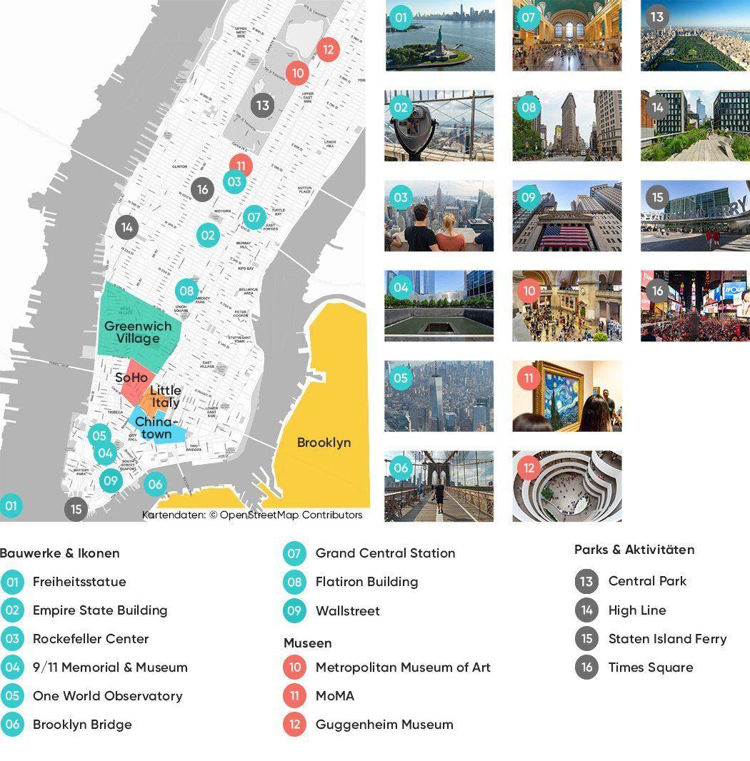 Die Wichtigsten New York Sehenswurdigkeiten Auf Einer Karte In