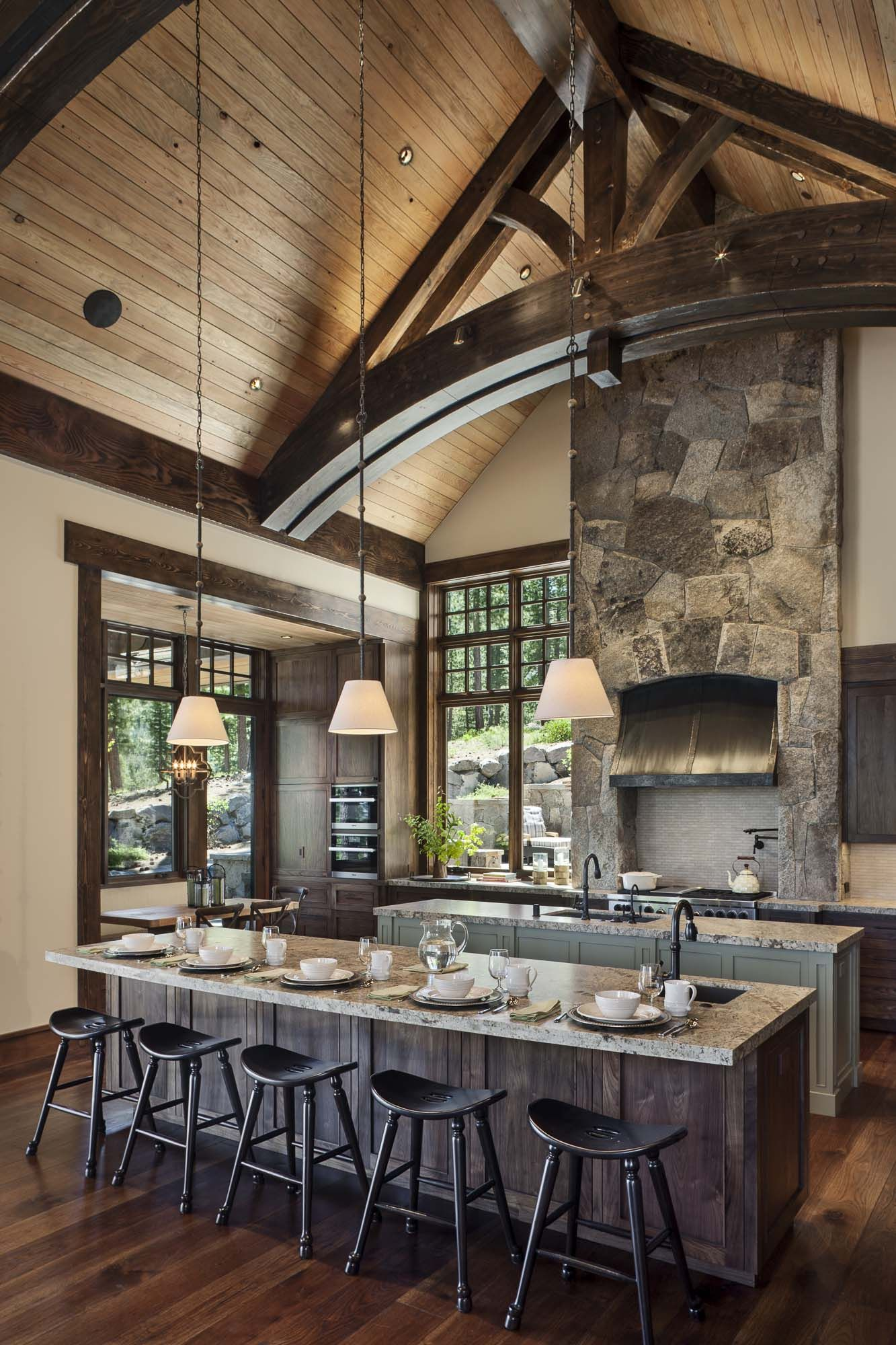Gorgeous Rustic Mountain Retreat With Stylish Interiors In Martis Camp Rustic House Rustic Home Design Timber House