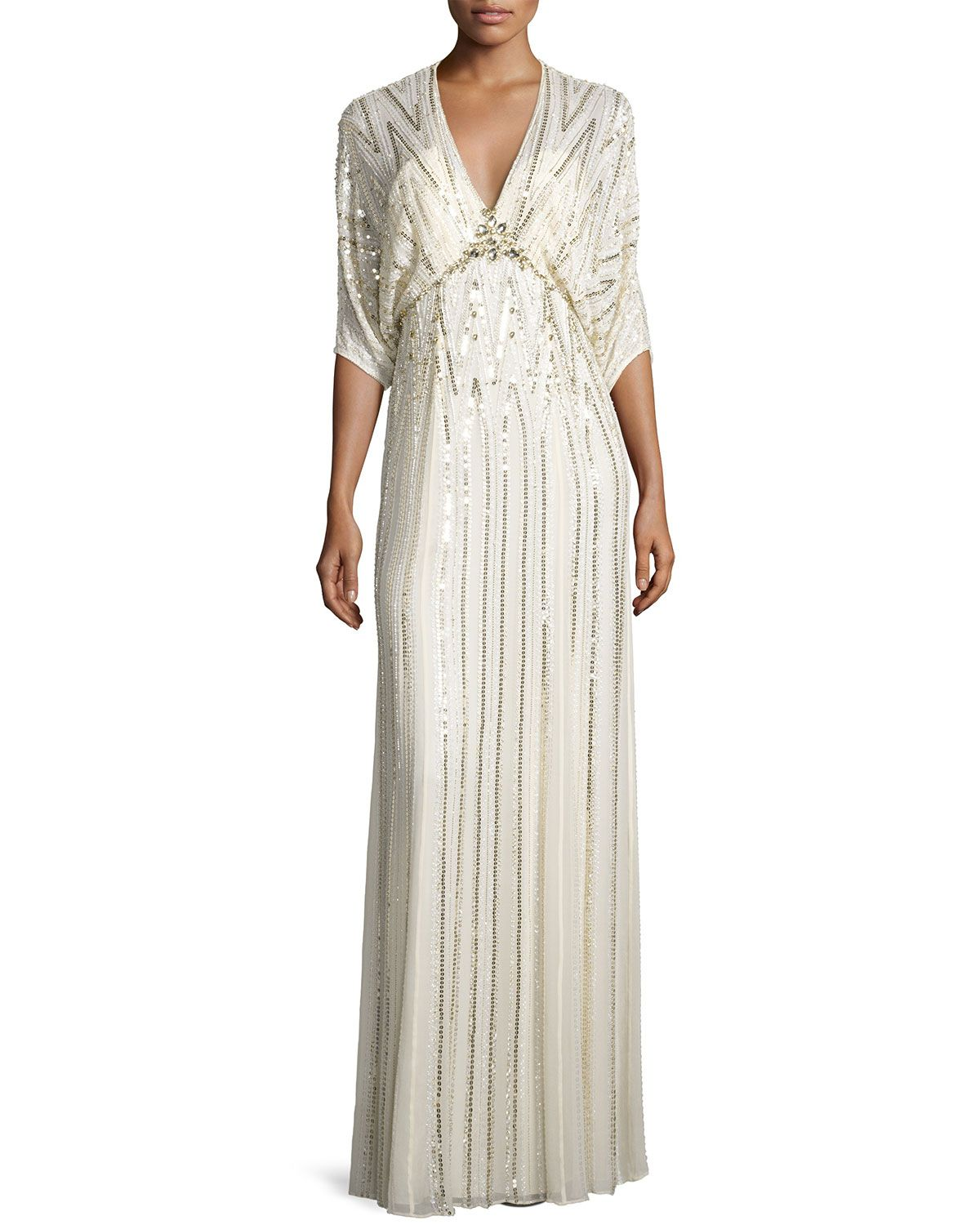 99bd0a09fa286 JENNY PACKHAM SEQUIN-EMBROIDERED BATWING GOWN