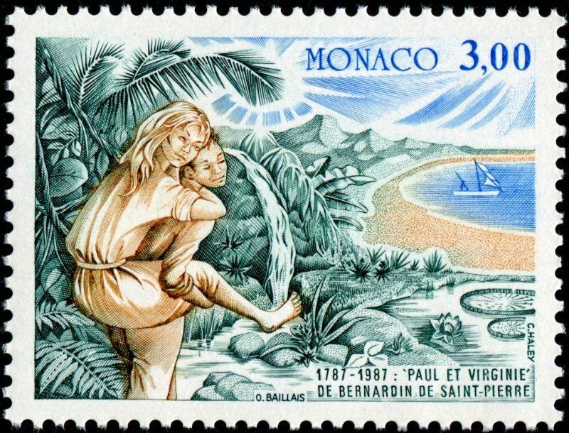 """Mónaco 1987 - Jacques-Henri Bernardin de Saint-Pierre fue un escritor y botánico francés. Se hizo popular por su novela """"Paul et Virginie"""", publicada en 1787."""