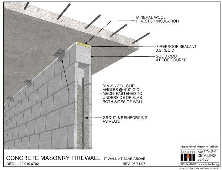 02 010 0702 Concrete Masonry Firewall T Wall At Slab Above Masonry Building Construction Masonry Wall