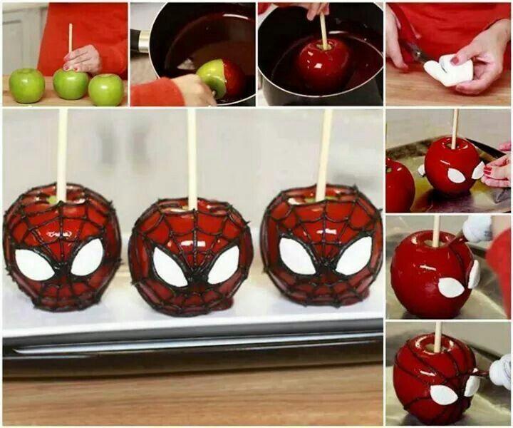 Maça caramelizada do homem aranha homem aranha Pinterest - halloween diy ideas