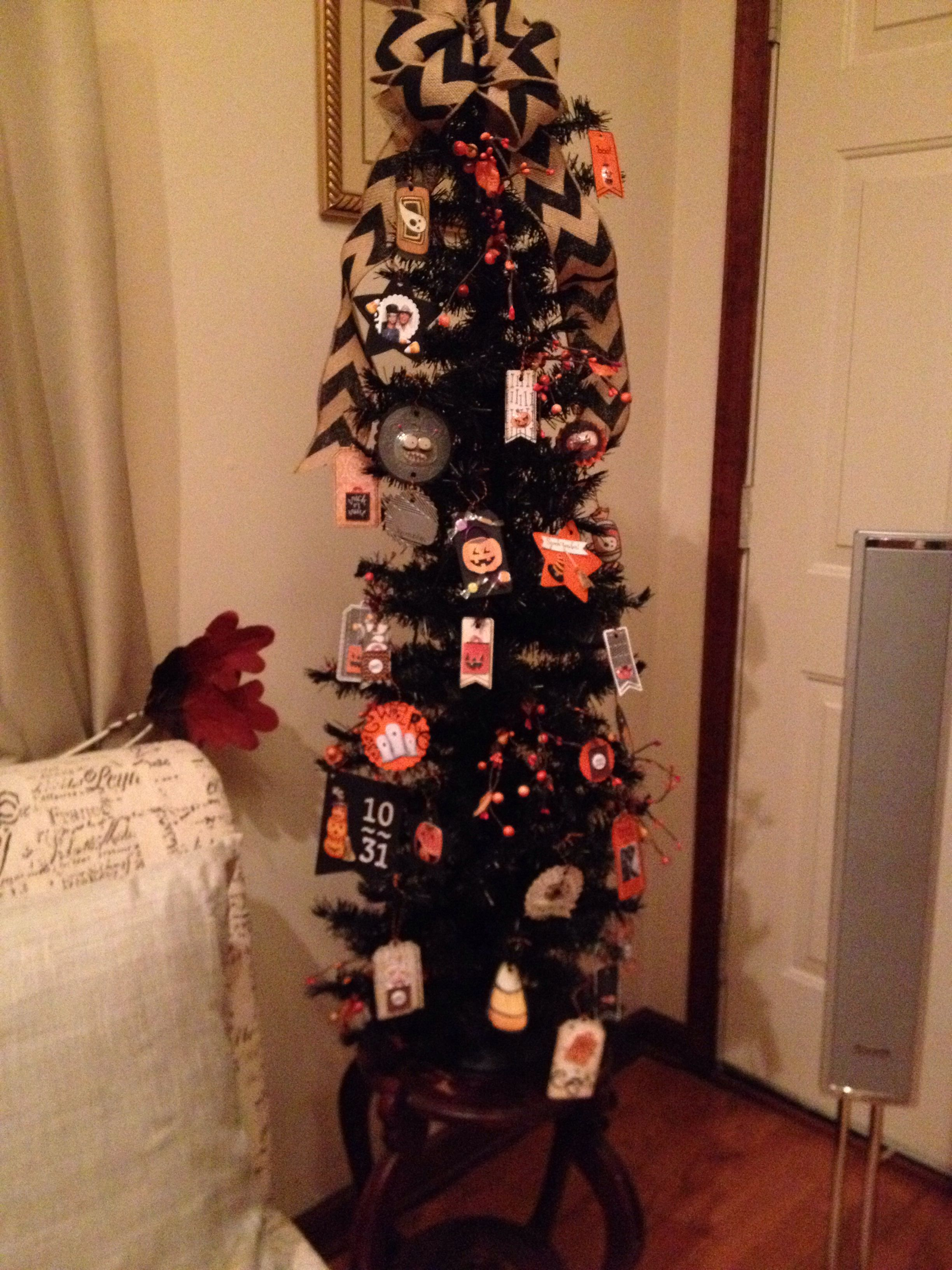 DIY Halloween Tree took a spare four foot christmas tree