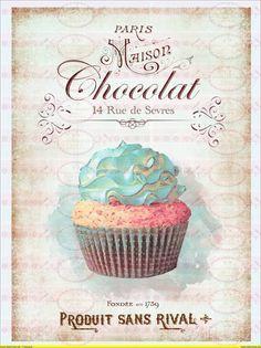 1A4 Vintage Shabby Bugelbild Schokolade Cupcake