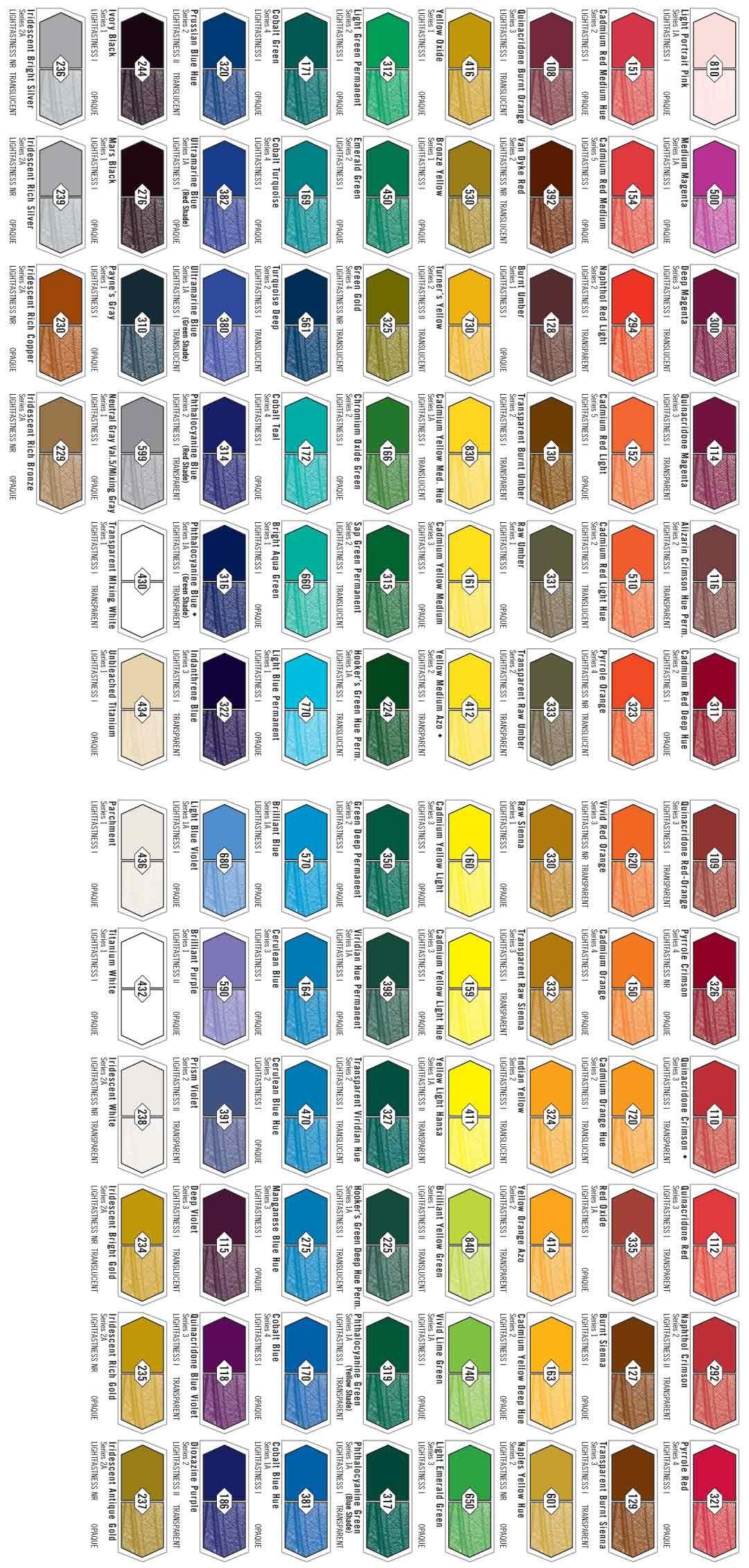 Folk art color chart acrylic paint - Liquitex Hb Color Chart
