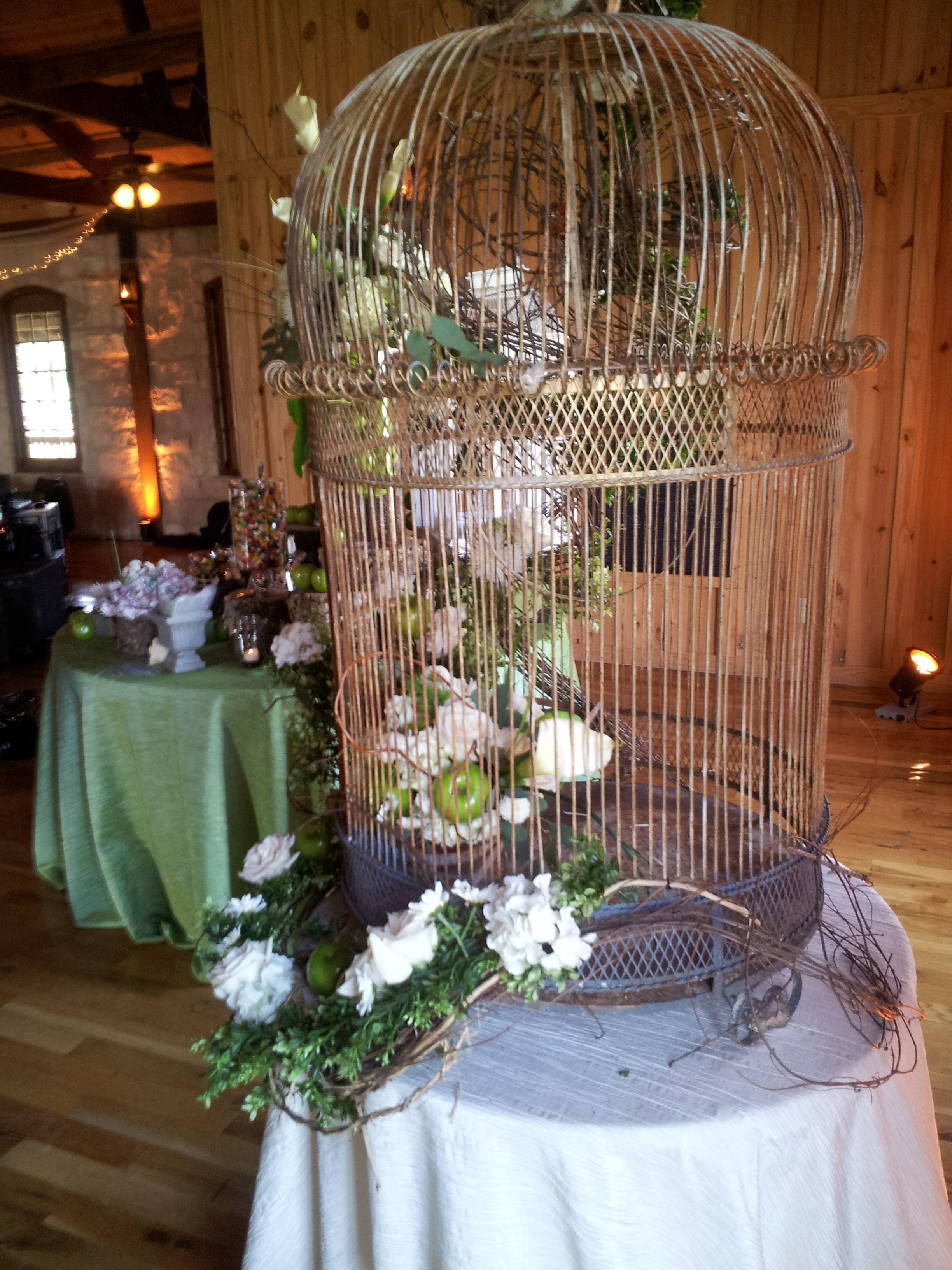 Bird Cage Decor at Boulder Spring Wedding. Decor by Chic Concepts