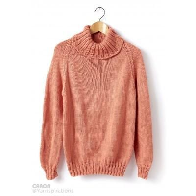 1ec10d718 Caron Simply Soft Adult Knit Turtle Neck Pullover