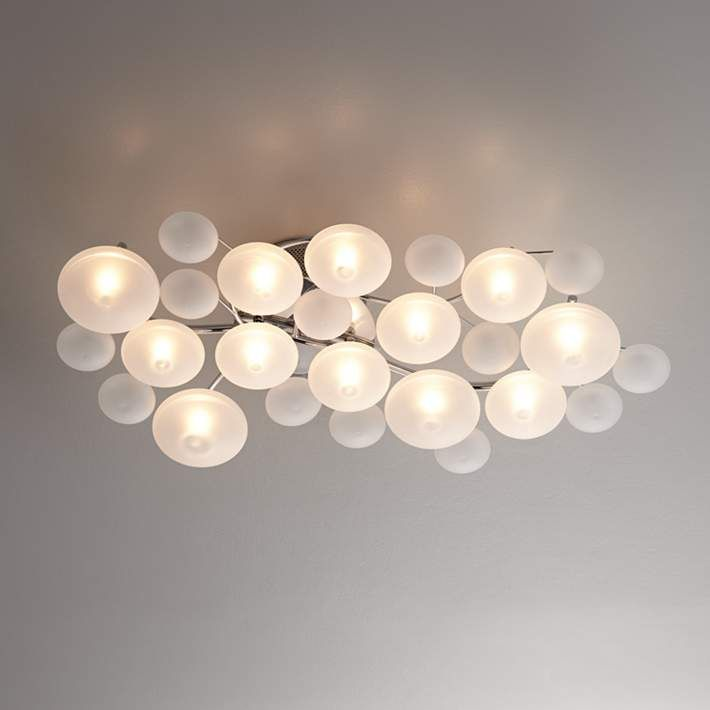 Possini Euro Lilypad 30 Wide Etched Gl Ceiling Light