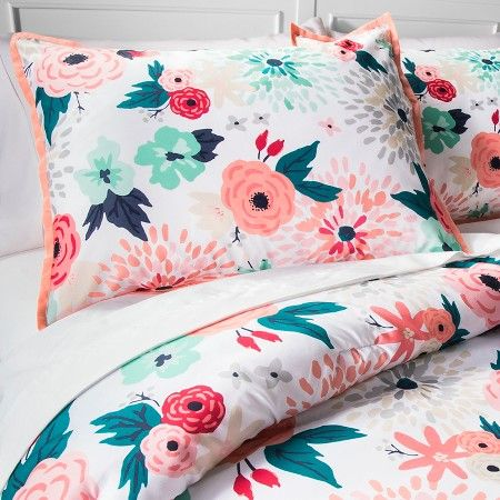 home bedding vcny sets comforter included misha floral pillows set ip decorative multi colored
