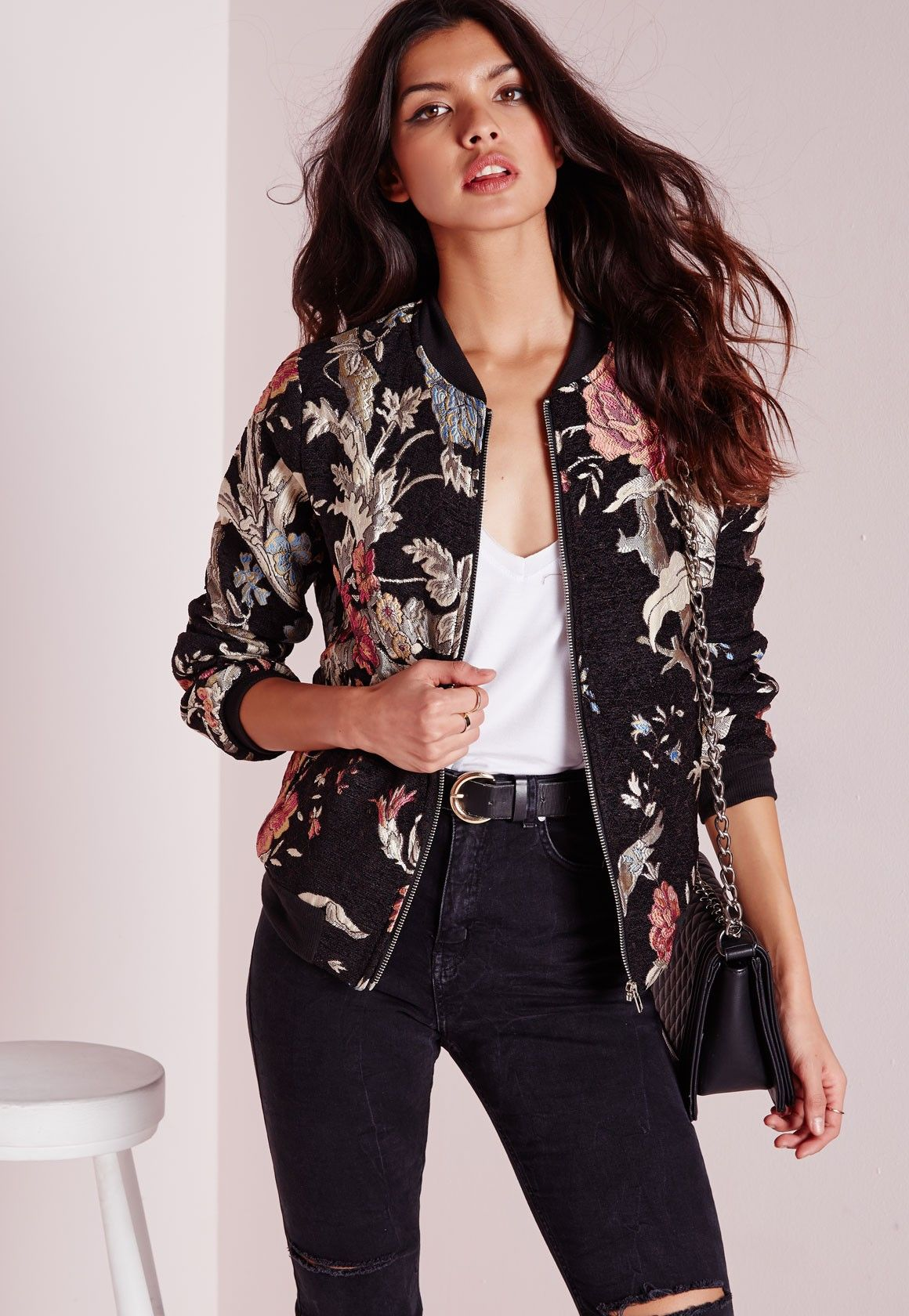c1baba3a Missguided - Black Premium Embroidered Floral Bomber Jacket | My ...
