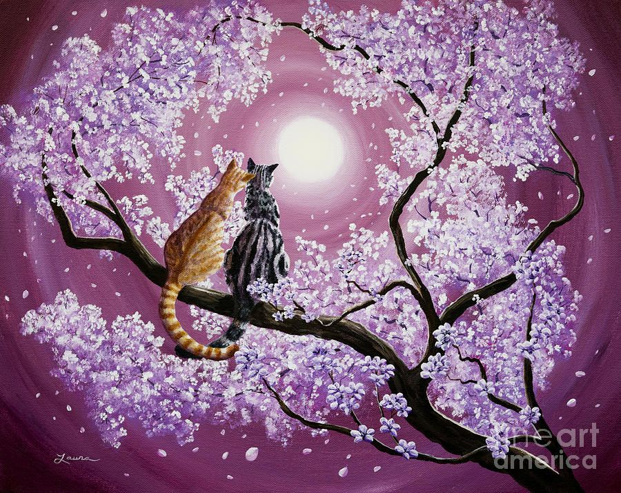 Grey Painting Orange And Gray Tabby Cats In Cherry Blossoms By Laura Iverson Cat Painting Cherry Blossom Painting Cherry Blossom Painting Acrylic
