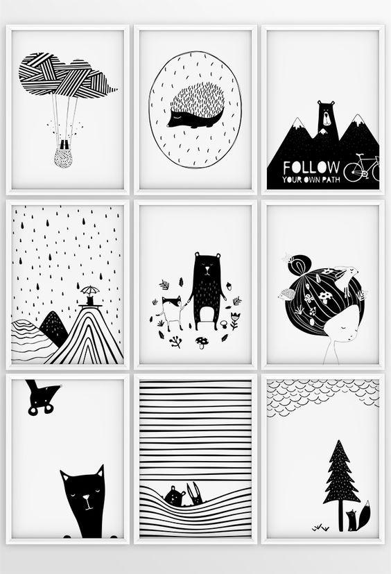 Nursery Print Baby Room Decor Pictures monochrome animals UNFRAMED black white
