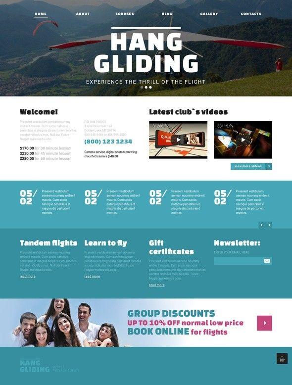 Hang Gliding Club Joomla Template | Hang gliding, Template and Site ...