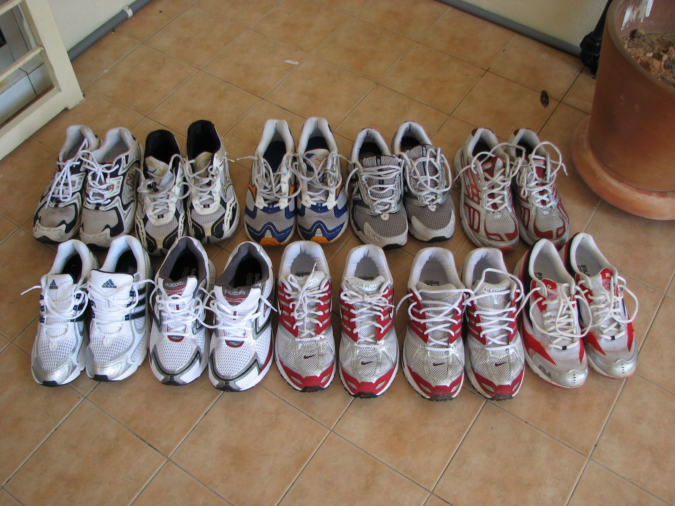 huge discount 2d1f3 c9d91 Old shoes, all donated. Mizuno Wave Precision 2, Fila K4, Brooks Glycerin  2, Nike Pegasus 2005, Saucony Trigon among them.