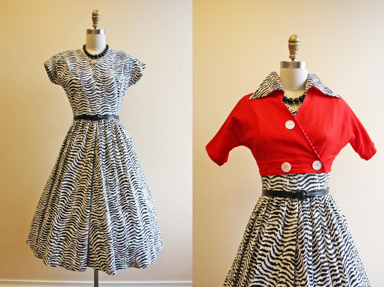 S dress vintage s s novelty dress zebra by jumblelaya