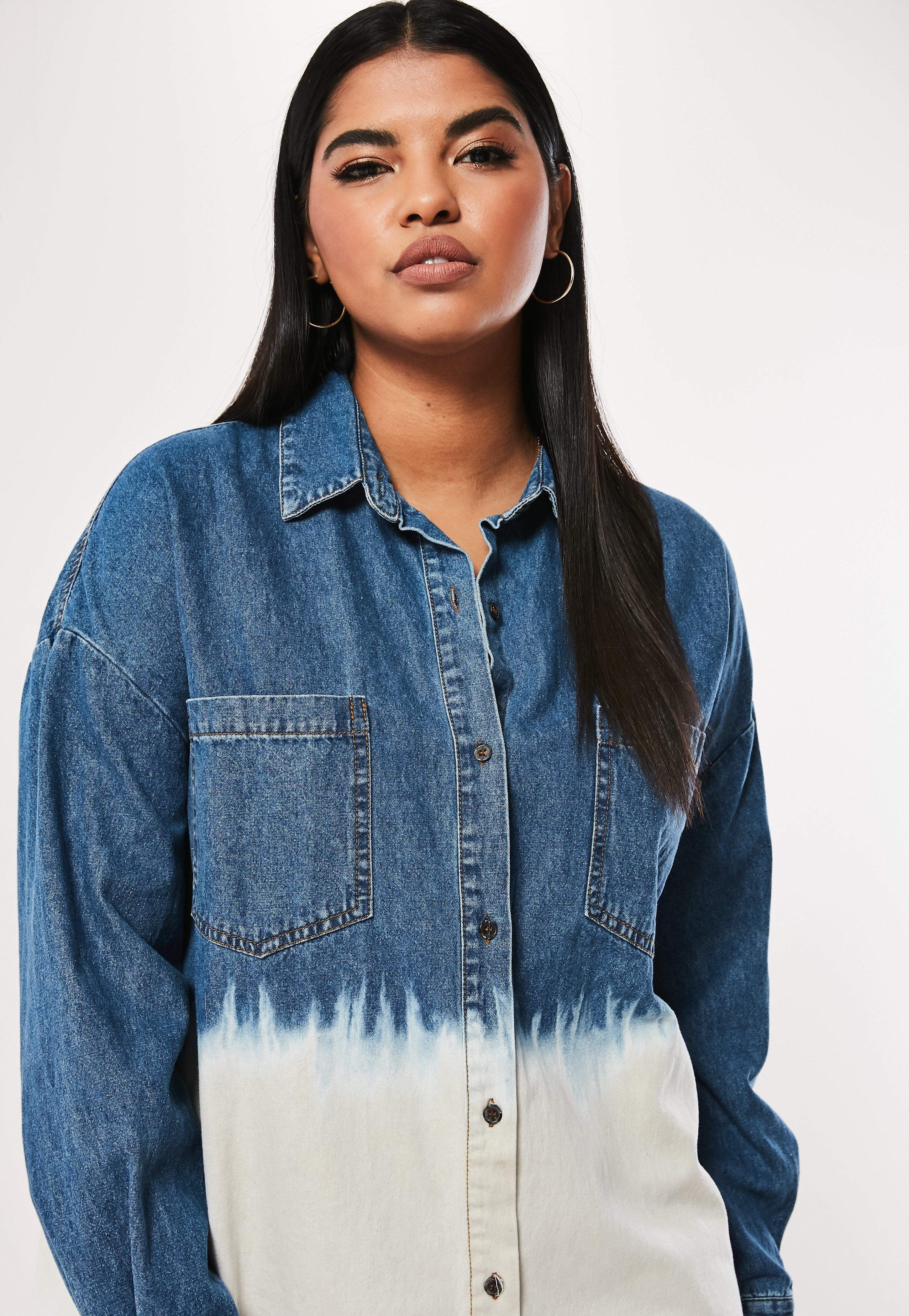 cf73d7e0c0b Plus Size Blue Oversized Dip Dye Denim Shirt Dress  Sponsored  Oversized