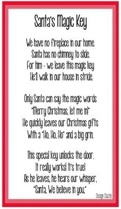 Santas Magic Key Poem Template Christmas Santas