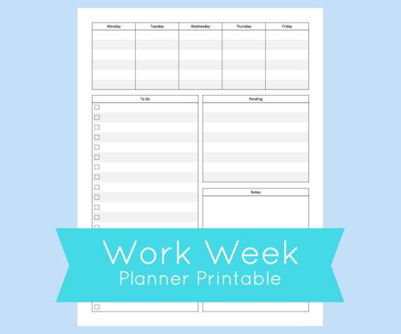 Weekly Work Week Printable Planner Keep Track Of Your Busy