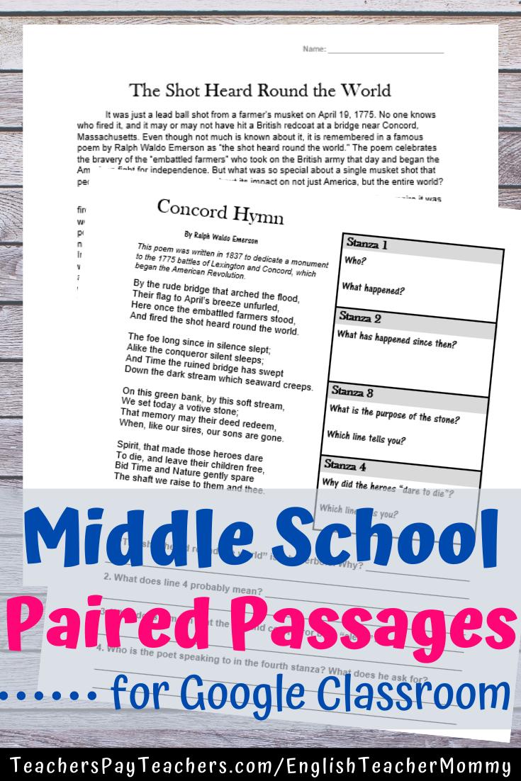 Digital Reading Activities For Middle School Middle School Reading Activities Poetry Middle School Paired Passages [ 1102 x 735 Pixel ]