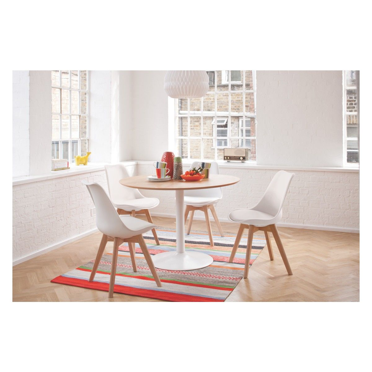 Lance dining set with oak table and jerry white chairs dining