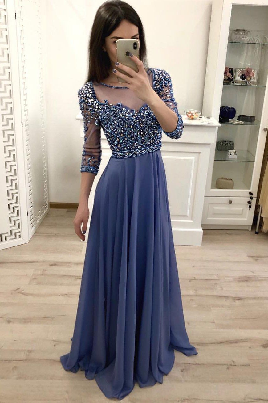 Chiffon A Line 3 4 Sleeves Beaded Blue Long Prom Dresses Formal Party Dress Oki18 Prom Dresses With Sleeves Evening Dresses Prom Dresses Long Pink [ 1305 x 870 Pixel ]