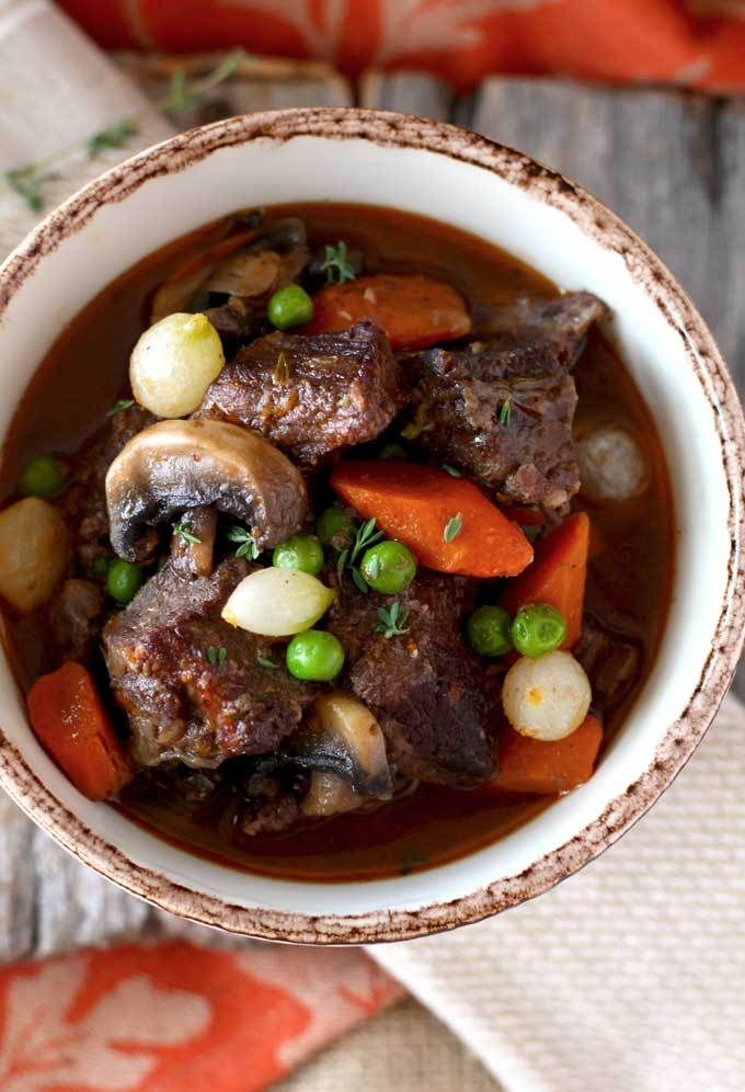 Beef Stew In Red Wine Sauce Tender Beef Cubes Cooked In Red Wine With Onions Garlic Carrots Mushrooms Peas Thym Beef Soup Recipes Homemade Beef Stew Beef