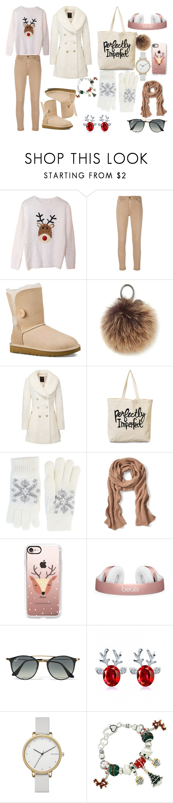 Wintery Set #2 by sandstormthenerd on Polyvore featuring AG Adriano Goldschmied, UGG Australia, Rebecca Minkoff, Skagen, Fits, Banana Republic, Casetify, Ray-Ban and Christmas