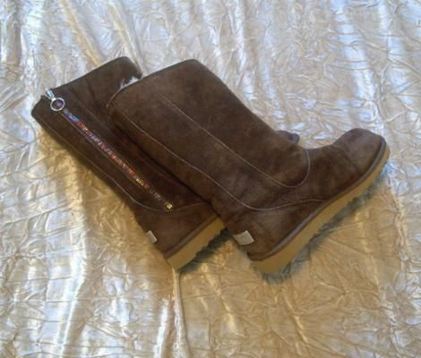 Authentic Dark Brown UGG Payton Style Boots with Multicoloured Zipper