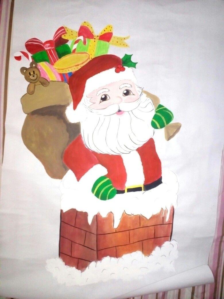 Dibujo De Santa Con Pintura Al Frio En Papel Bond Tamano Grande Disney Characters Character Disney Princess