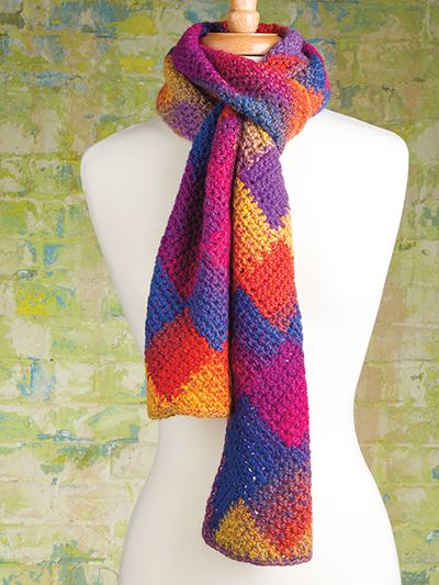 Free Crochet Pattern Download -- This Crochet Entrelac Scarf ...