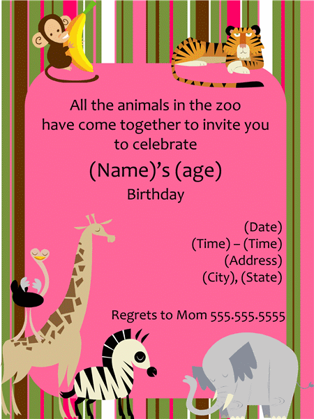 Zoo animal birthday party invitation girl templates office zoo animal birthday party invitation girl templates office stopboris Choice Image