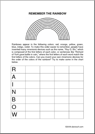 worksheet rainbows upper elem can you invent your own mnemonic devices for the order of the. Black Bedroom Furniture Sets. Home Design Ideas