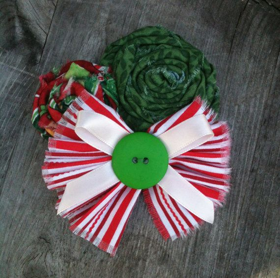 Peppermint Christmas Bow w/ Rosettes on by HippiesDaughter on Etsy, $6.00