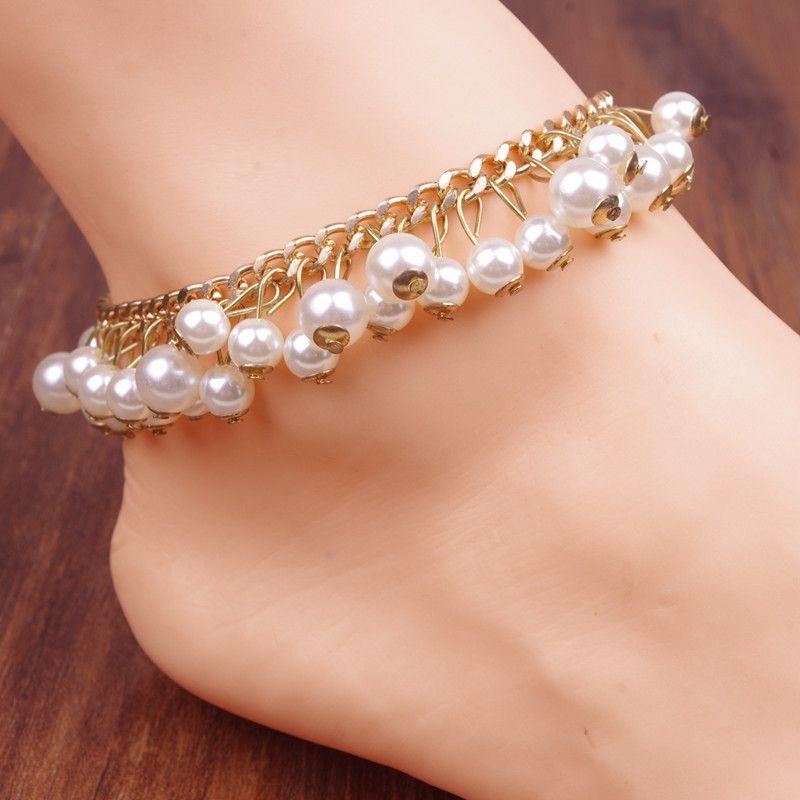 $5.00 new design Flashing luxury women Fashion gold pearl foot ...
