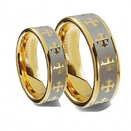 Men & Ladie's 8MM/6MM Flat Gold Plated with Celtic Crosses Tungsten Carbide Wedding Band Ring Set tungsten jeweler http://www.amazon.com/dp/B012UKFGS8/ref=cm_sw_r_pi_dp_U5ibwb0E12F9F