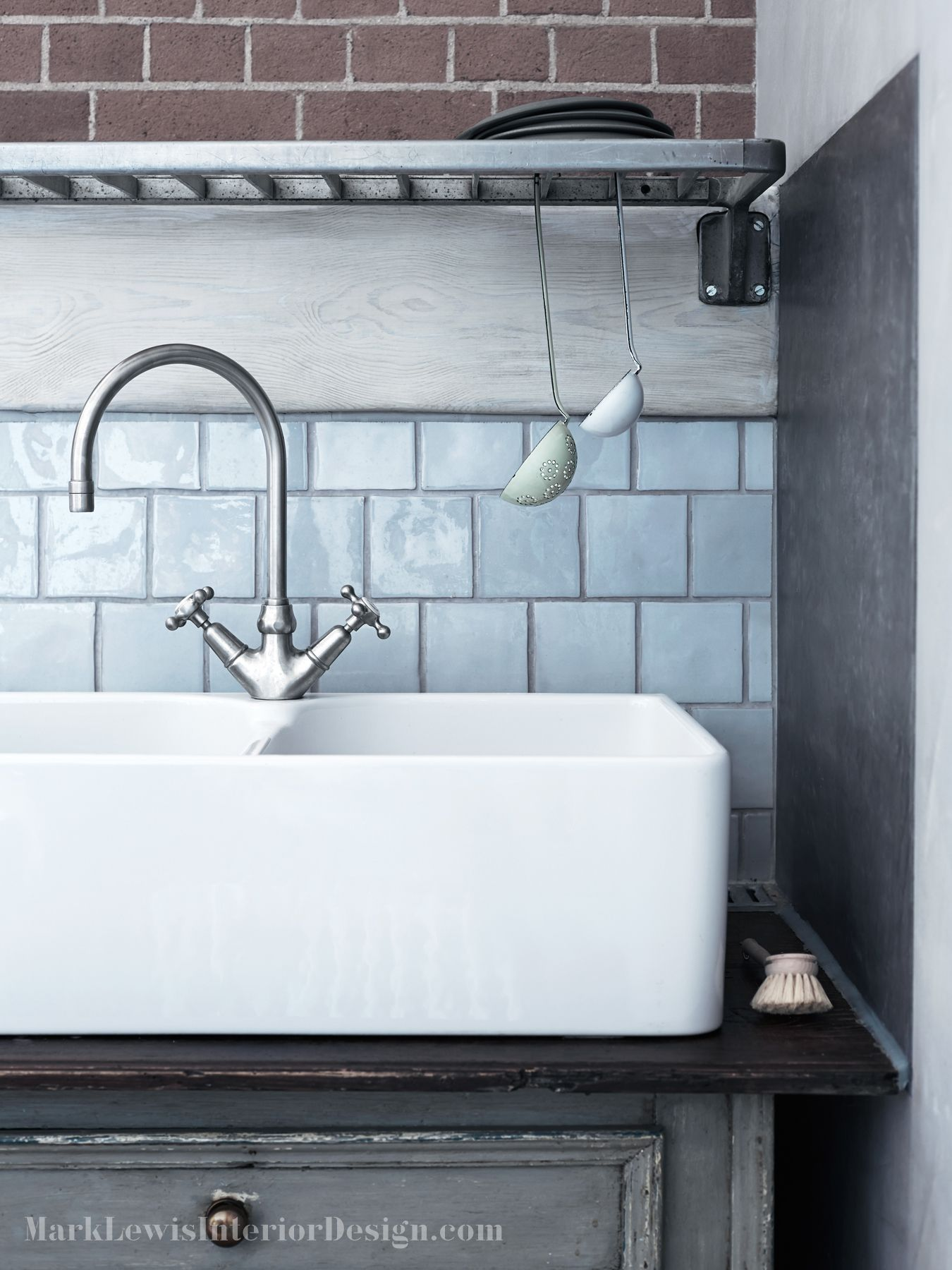 Aston Matthews double ceramic basin with traditional mixer tap ...