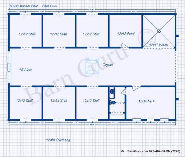 The clover 6 stall horse barn plan love but make 2 wash for Two stall barn plans