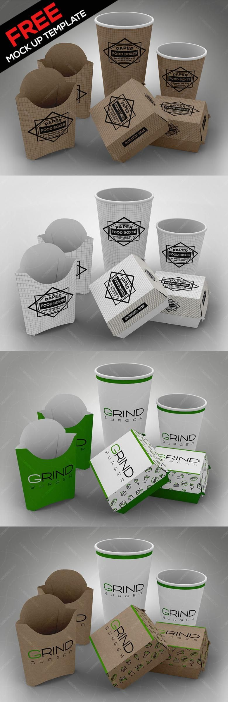 Free Fast Food Packaging Mockup Set Fast Food Packaging Food Packaging Mockup Food Packaging