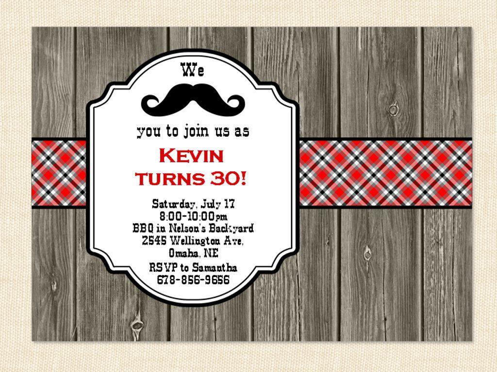 30th invitation Men Birthday Mustache 40th 50th BBQ Wood Printable ...