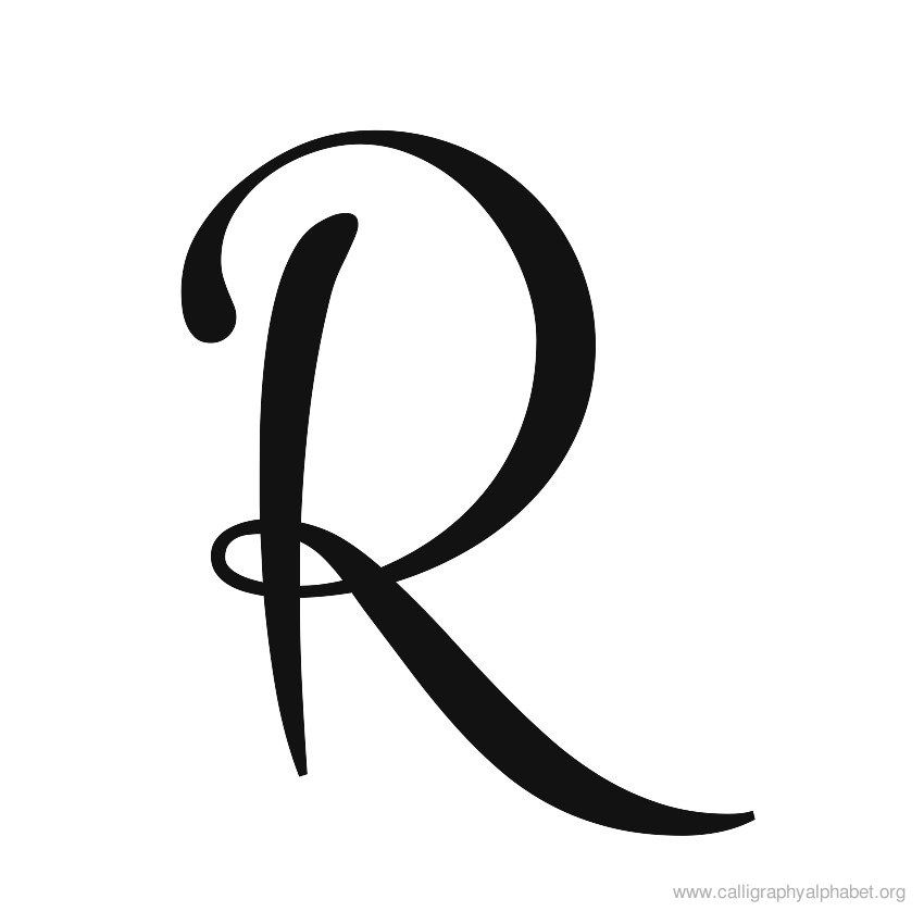Cursive calligraphy alphabet r g �