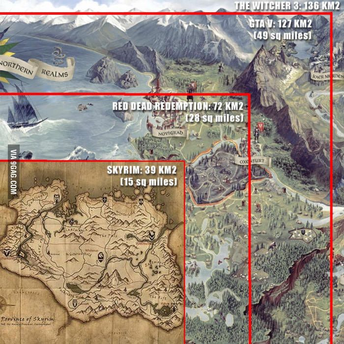 The witcher 3 map size comparison manga and anime the witcher 3 map size comparison gumiabroncs Choice Image