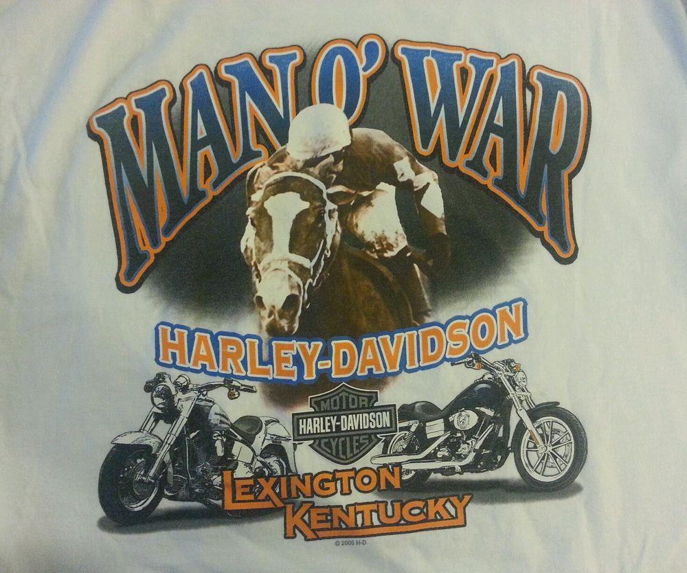 Harley Davidson Motorcycles Men S T Shirt L White Man O War Lexington Kentucky Har Harley Davidson Posters Harley Davidson Dealership Harley Davidson Dealers